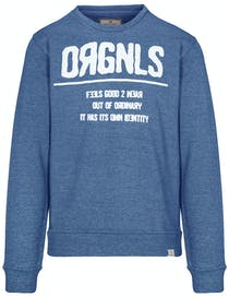 Sweatshirt mit Wording - Blue Melange