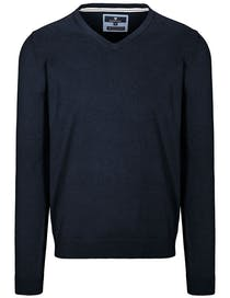 V-Pullover Cotton Stretch - Blue Navy Melange