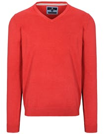 V-Pullover Cotton Stretch - Fresh Red Melange