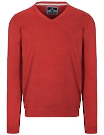 V-Pullover Cotton Stretch - Red Melange
