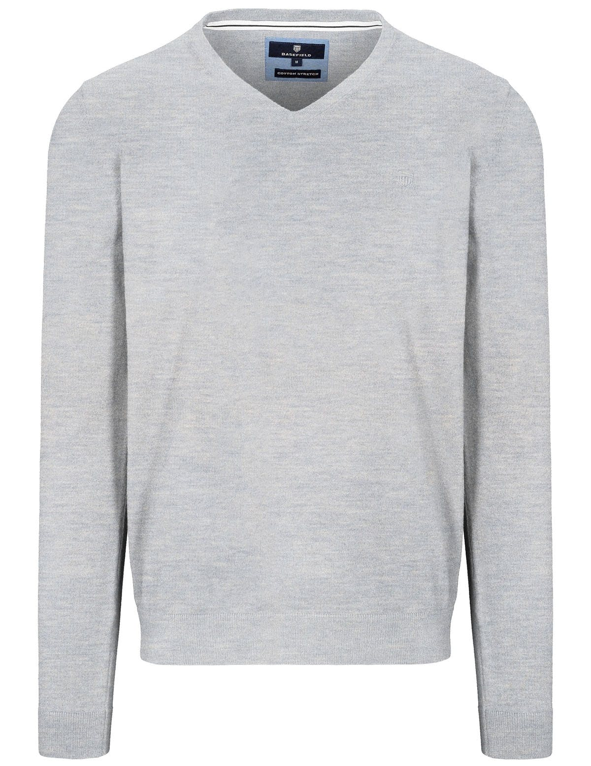 V-Pullover Cotton Stretch - Silber Melange