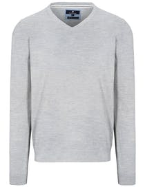 V-Pullover Cotton Stretch - Silber Melange
