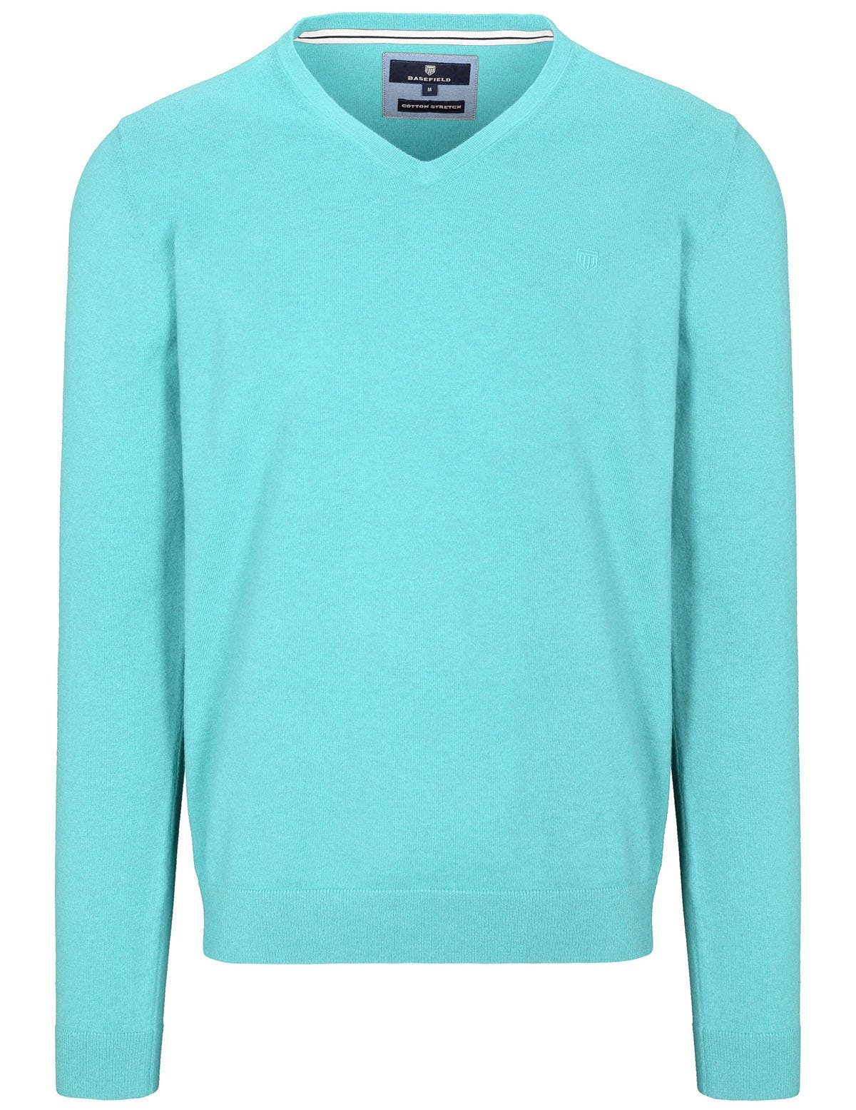V-Pullover Cotton Stretch - Soft Lagoon Melange