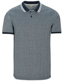 Polo Shirt mit Allover-Muster - Blue Navy