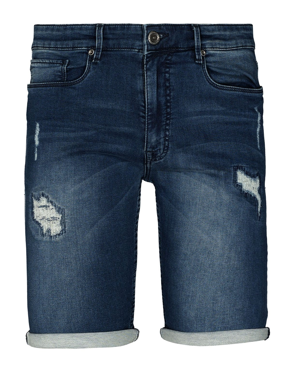 Bermuda im Destroyed-Design - Dark Blue Denim