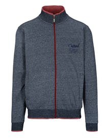 Zip Sweat Cardigan mit Wording-Stickerei - Blue Navy Melange