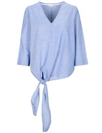 V-Neck Bluse - Summerblue White