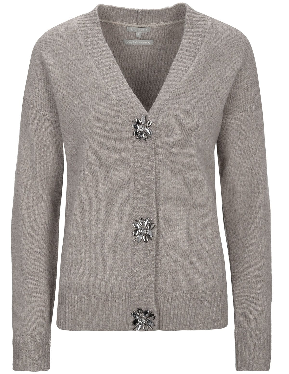Cardigan mit Schmuckstein-Applikation - Shadow Grey Melange