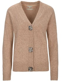 Cardigan mit Schmuckstein-Applikation - Toffy Melange