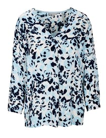 Bluse mit Allover-Print - Crystal Blue