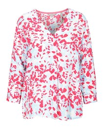Bluse mit Allover-Print - Power Fuchsia