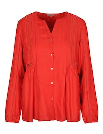 Bluse mit Lochmuster - Rooftop Red