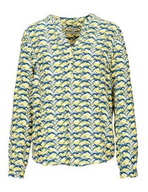 Bluse mit Allover-Hunde-Print - Offwhite Chartreuse
