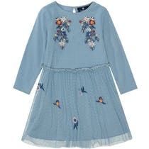BASEFIELD Kleid Blumen - Light Blue