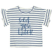 BASEFIELD T-Shirt SEA YOU LATER - Jeans Blue Streifen