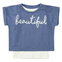 T-Shirt 2in1 mit Wording-Print - Jeans Blue